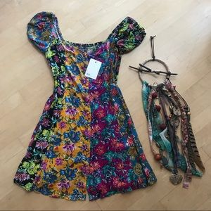 NWT | asos | floral ruched mini dress